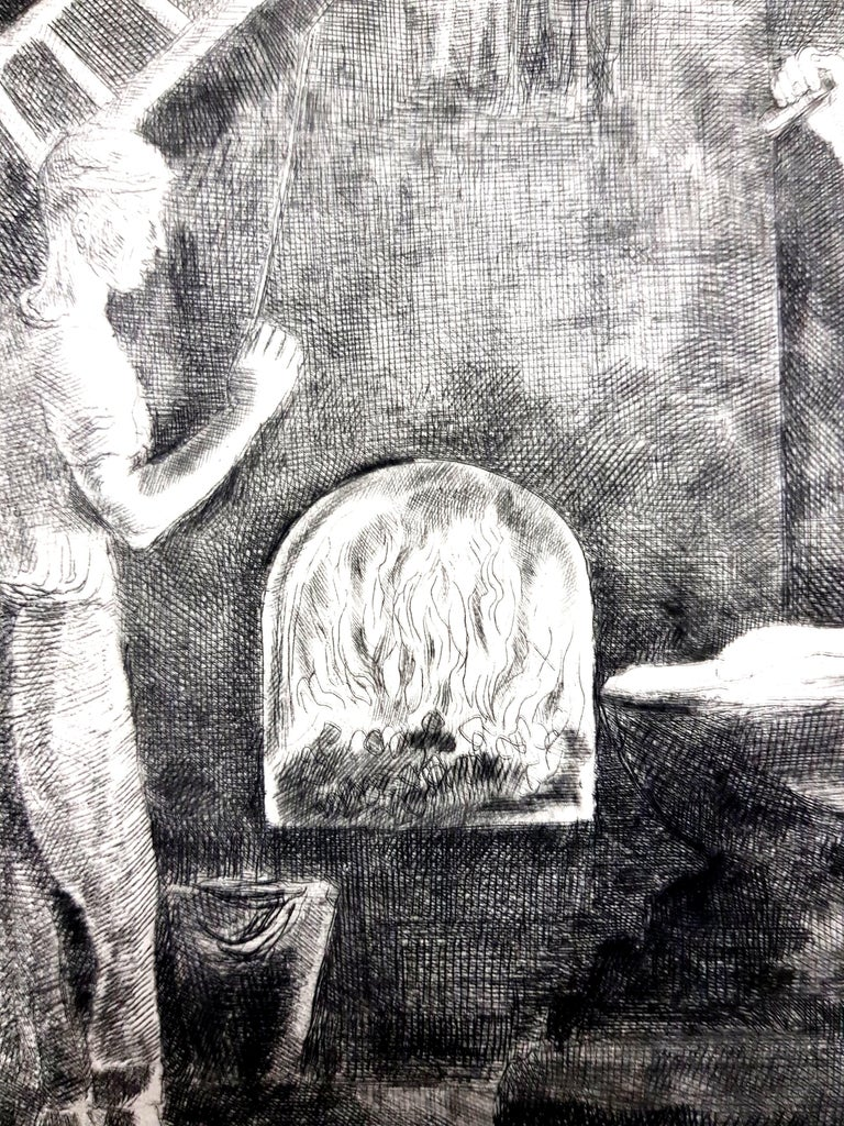 Hermine David - Workers - Original Etching Paris, Le Gerbier, 1946 Edition of 340 Signed in the plate