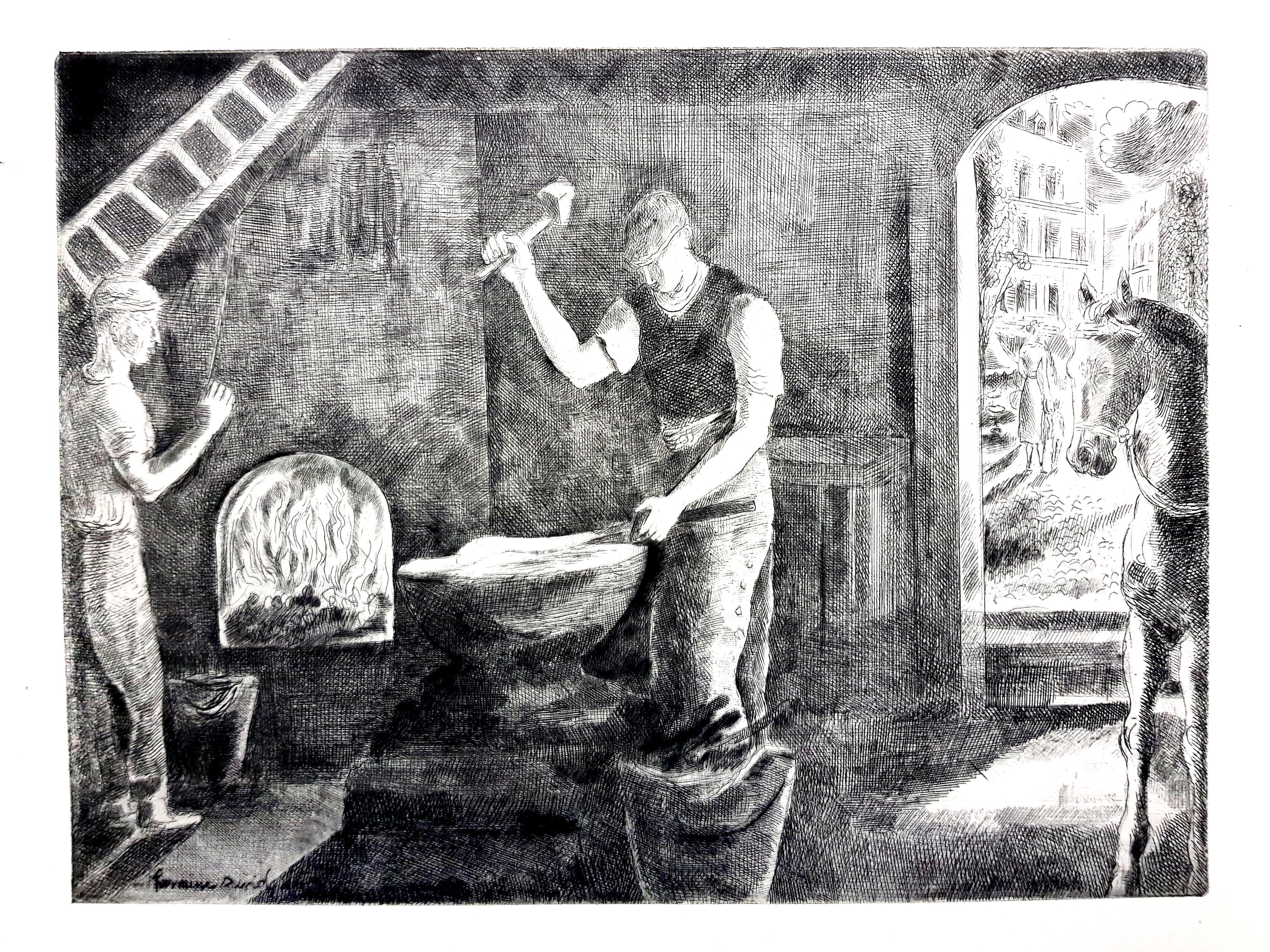 Hermine David - Workers - Original Etching