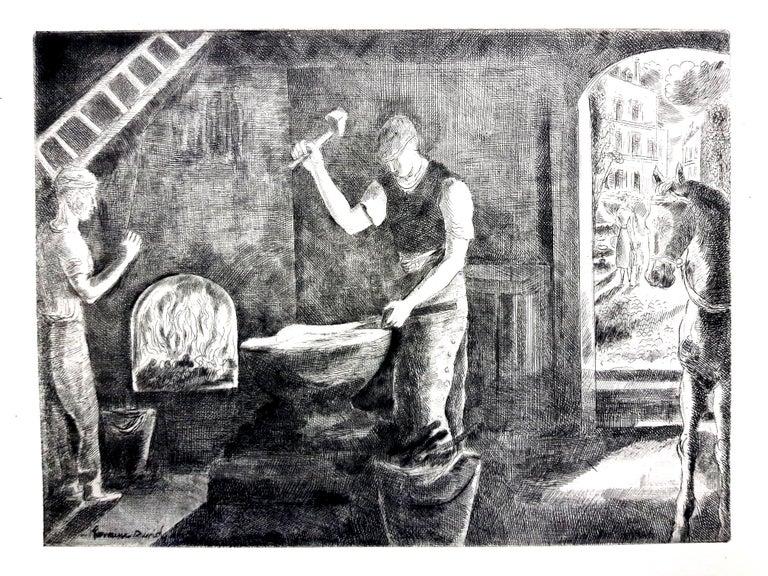 Hermine David - Workers - Original Etching - Print by Hermine David