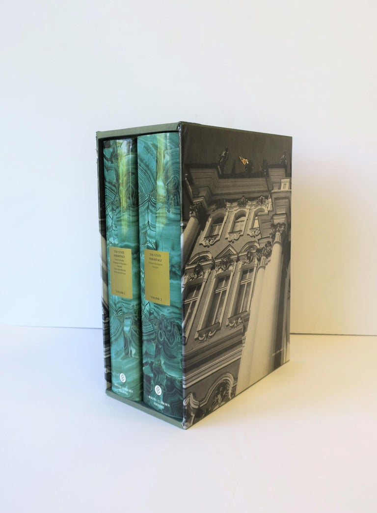 English Hermitage Museum Coffee Table of Library Books with Malachite Green Dust Jackets For Sale