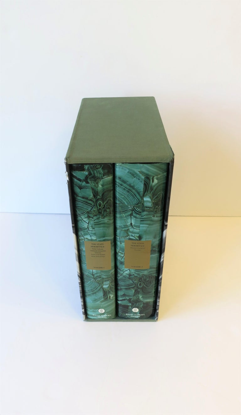 20th Century Hermitage Museum Coffee Table of Library Books with Malachite Green Dust Jackets For Sale