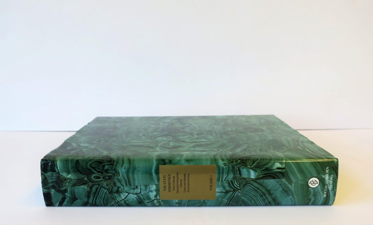 Hermitage Museum Coffee Table of Library Books with Malachite Green Dust Jackets For Sale 1