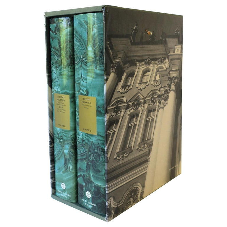 Hermitage Museum Coffee Table of Library Books with Malachite Green Dust Jackets For Sale