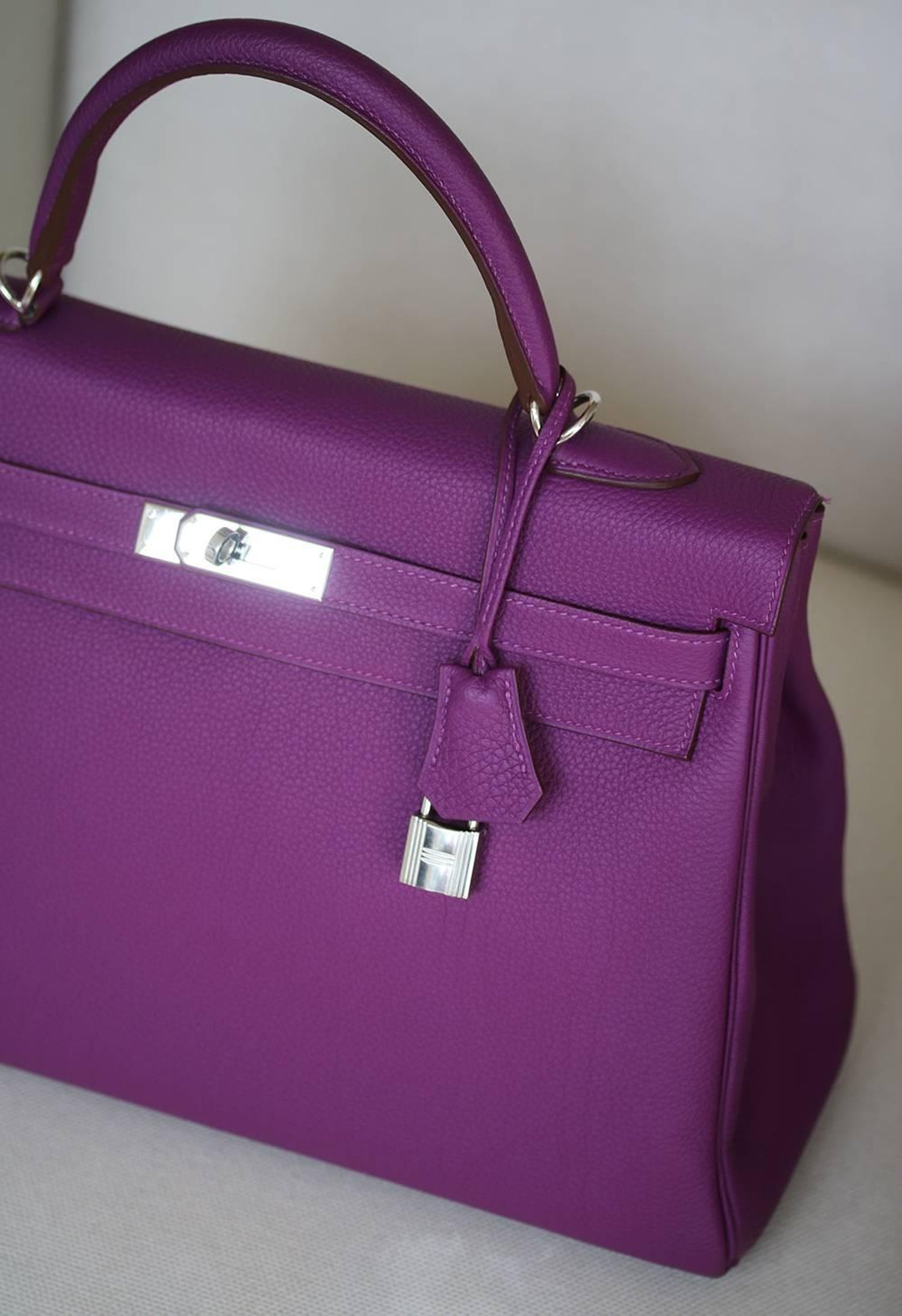 aae23e2da7e Hermès 35CM Violet Togo Leather Silver H W Kelly Bag at 1stdibs