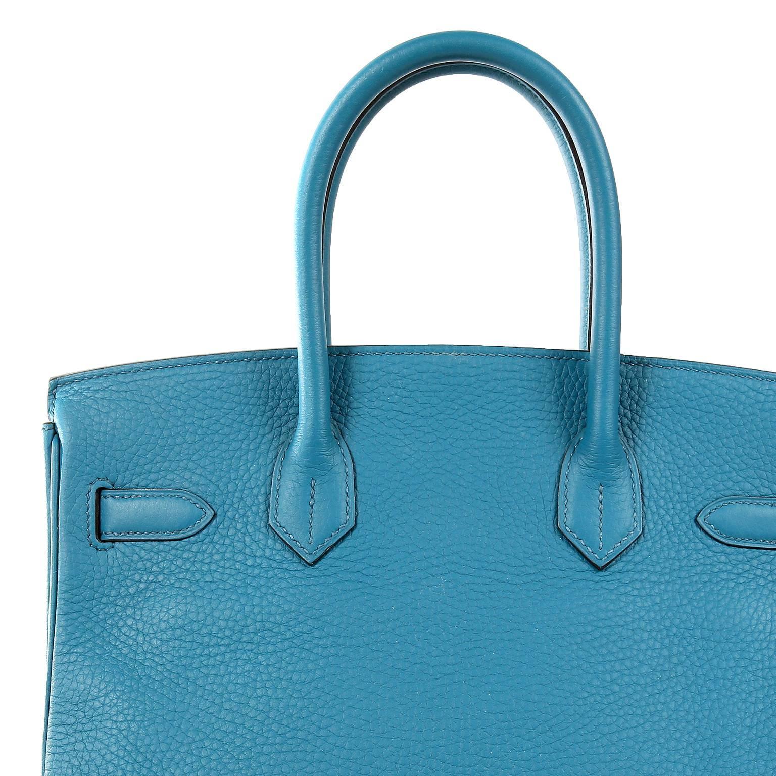 fe0990e7fe9e Hermès Blue Izmir Togo 30 cm Birkin Bag with Palladium HW For Sale at  1stdibs