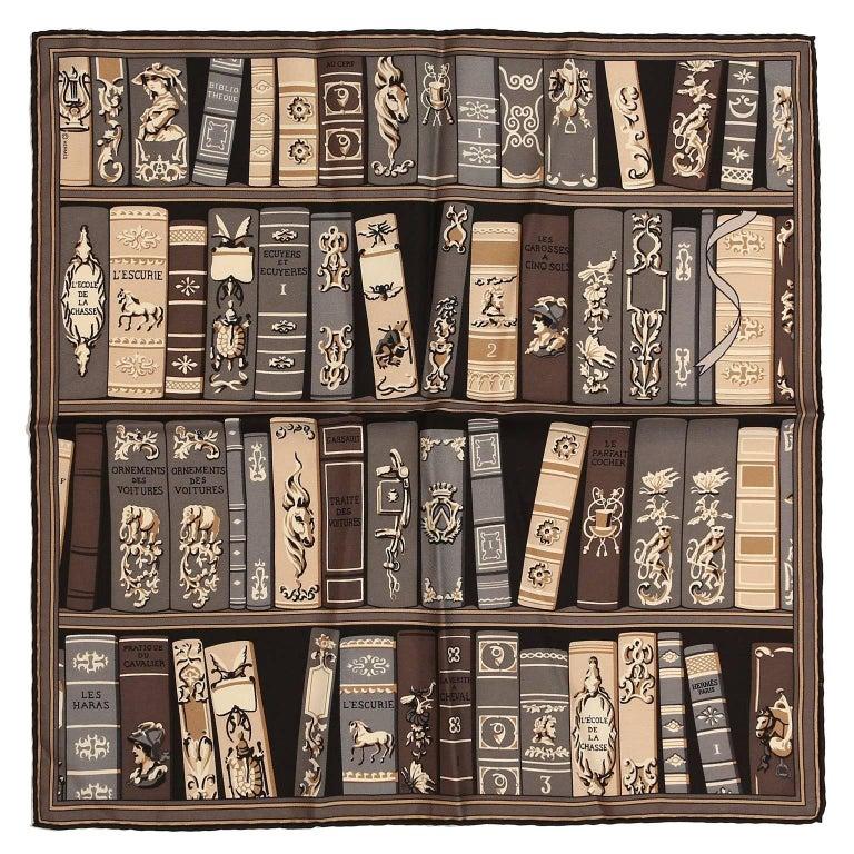 Hermès Bookshelf Print Pochette Silk Scarf