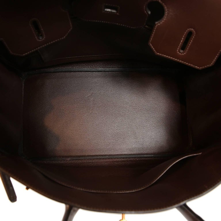 Hermès Chocolate Box Calf 35 cm Birkin Bag For Sale 7