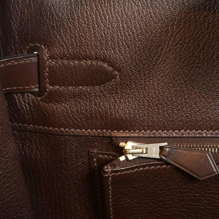 Hermès Chocolate Box Calf 35 cm Birkin Bag For Sale 8