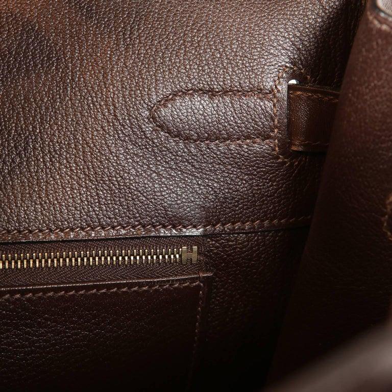 Hermès Chocolate Box Calf 35 cm Birkin Bag For Sale 9