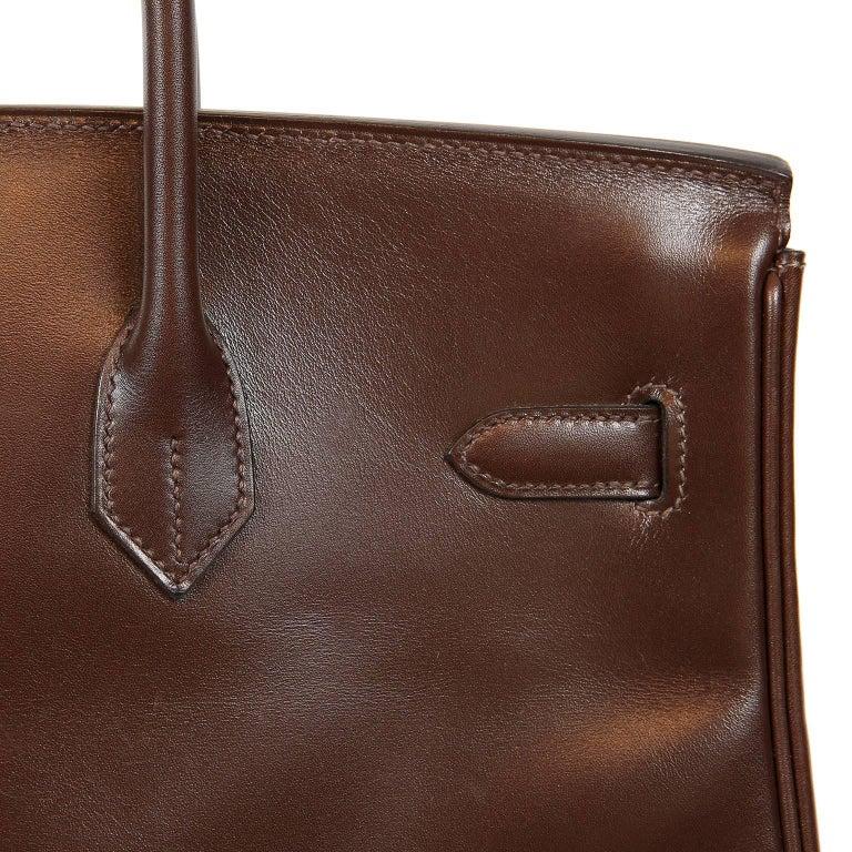 Hermès Chocolate Box Calf 35 cm Birkin Bag For Sale 10