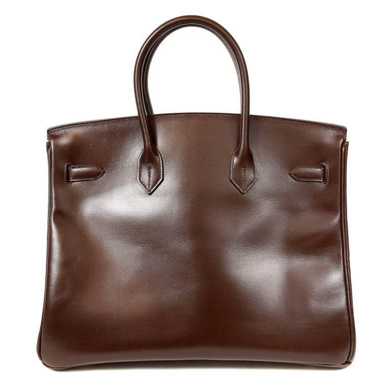 Hermès Chocolate Box Calf 35 cm Birkin- EXCELLENT Hermès bags are considered the ultimate luxury item the world over.  Hand stitched by skilled craftsmen, wait lists of a year or more are commonplace.  Box Calf is one of the original Hermès