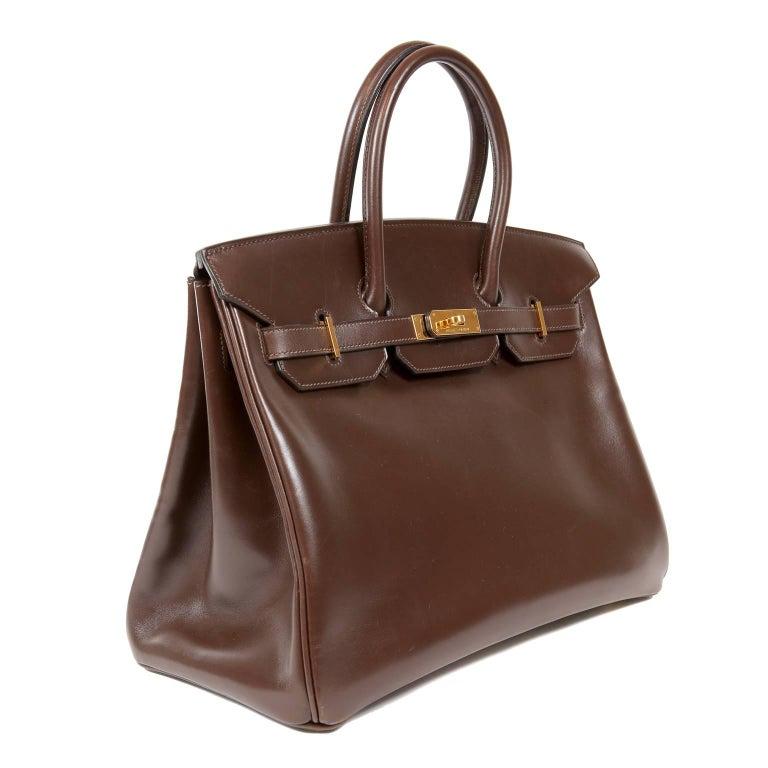 Black Hermès Chocolate Box Calf 35 cm Birkin Bag For Sale