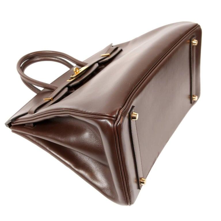 Women's Hermès Chocolate Box Calf 35 cm Birkin Bag For Sale