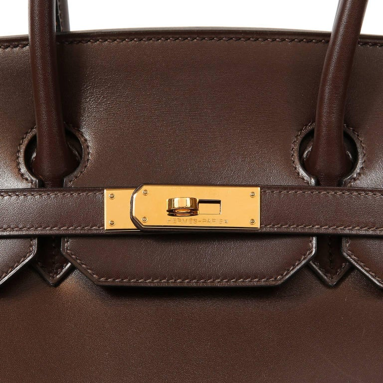 Hermès Chocolate Box Calf 35 cm Birkin Bag For Sale 2