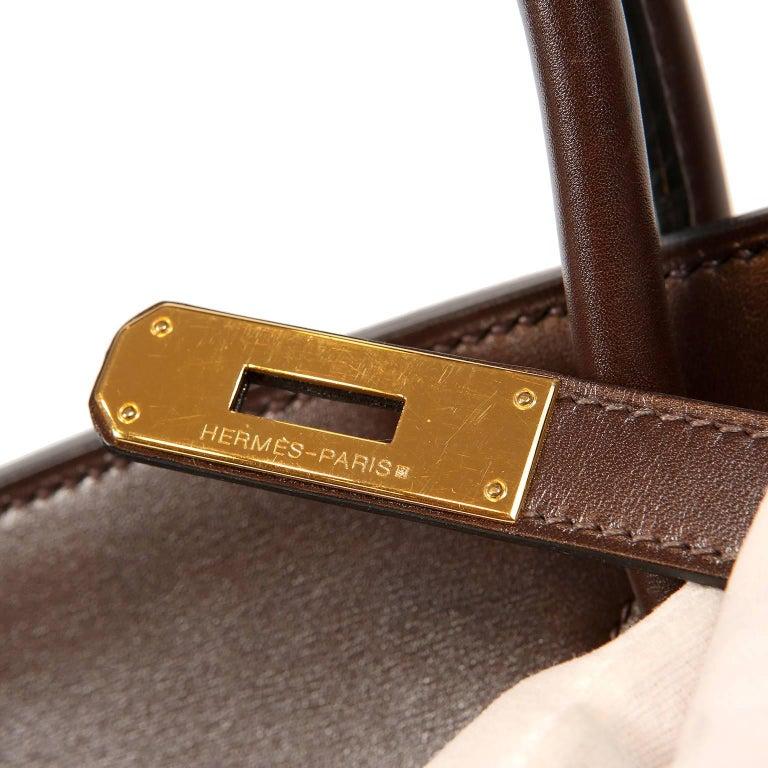 Hermès Chocolate Box Calf 35 cm Birkin Bag For Sale 3
