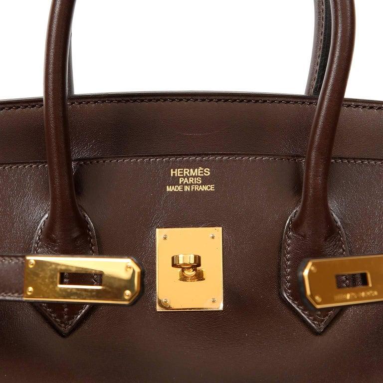 Hermès Chocolate Box Calf 35 cm Birkin Bag For Sale 4