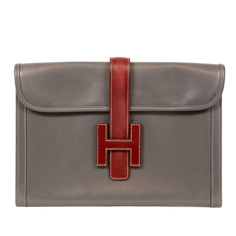 Hermès Grey and Bordeaux Leather Jige Clutch