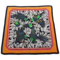 Hermès Les Perroquets Parrots Metz Cashmere Silk 90 cm  Scarf Wrap Shawl
