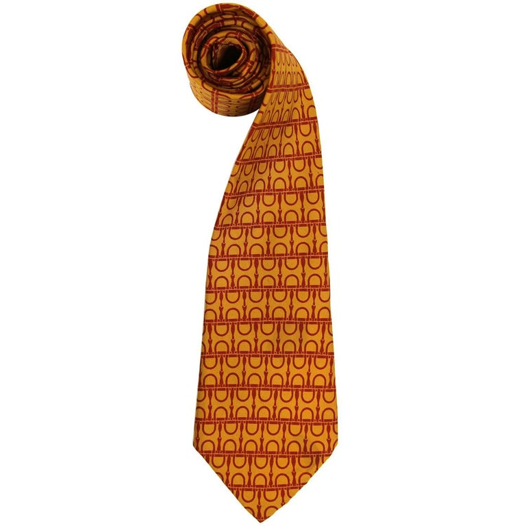Hermès Multicolor Printed Silk Vintage Tie, 1960s