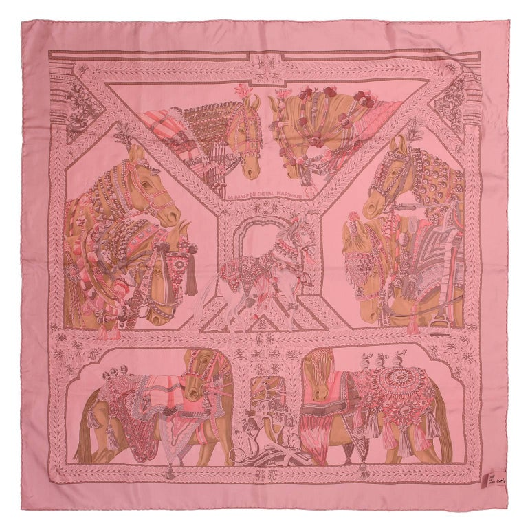 Hermès Pink La Danse du Cheval Marwari 90 cm Silk Scarf