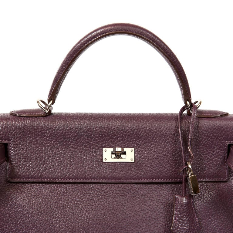 Hermès Raisin Togo 32 cm Kelly Bag For Sale 5