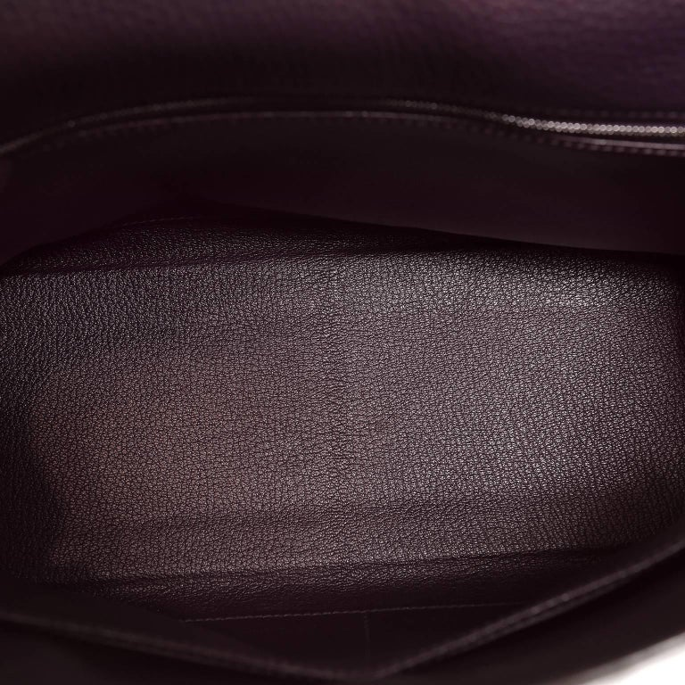 Hermès Raisin Togo 32 cm Kelly Bag For Sale 8