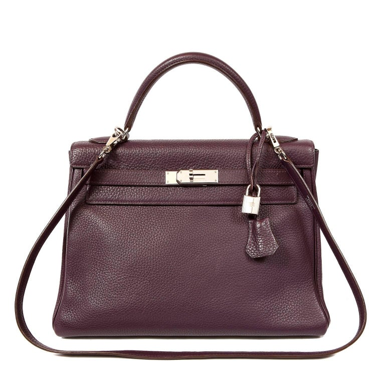 Hermès Raisin Togo 32 cm Kelly Bag For Sale 13