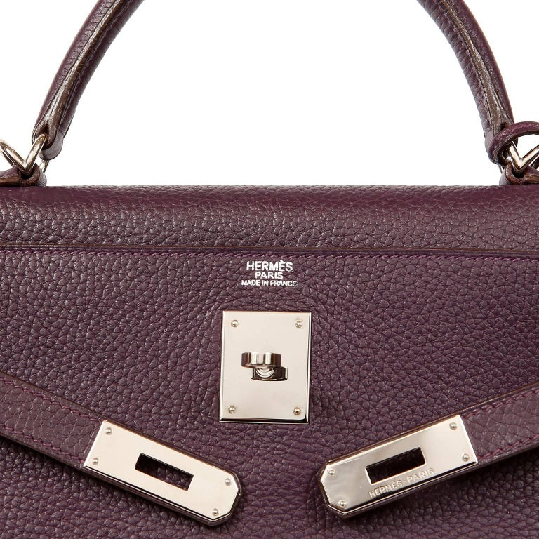 Hermès Raisin Togo 32 cm Kelly Bag For Sale 4