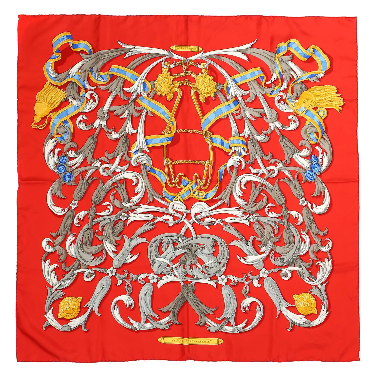 Hermès Red Le Mors a la Conetable 90 cm Silk Scarf