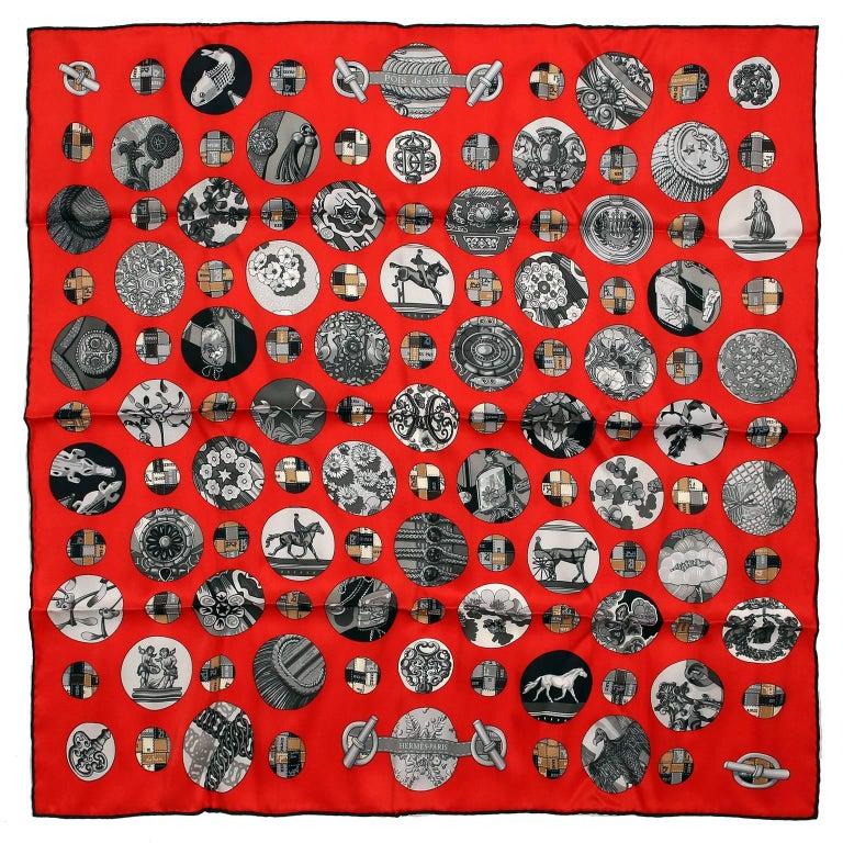 Hermès Red Pois de Soie Silk Scarf
