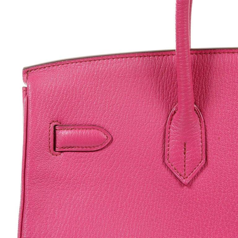 3284e28f4da3 Hermès Rose Shocking Chevre 35 cm Birkin Bag- Palladium HW For Sale 10