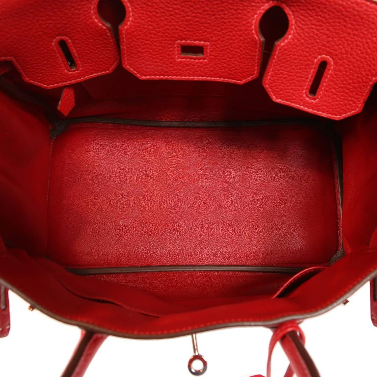 Hermès Rouge H Togo 30 cm Birkin Bag- Palladium Hardware For Sale 6