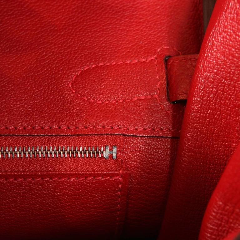 Hermès Rouge H Togo 30 cm Birkin Bag- Palladium Hardware For Sale 7