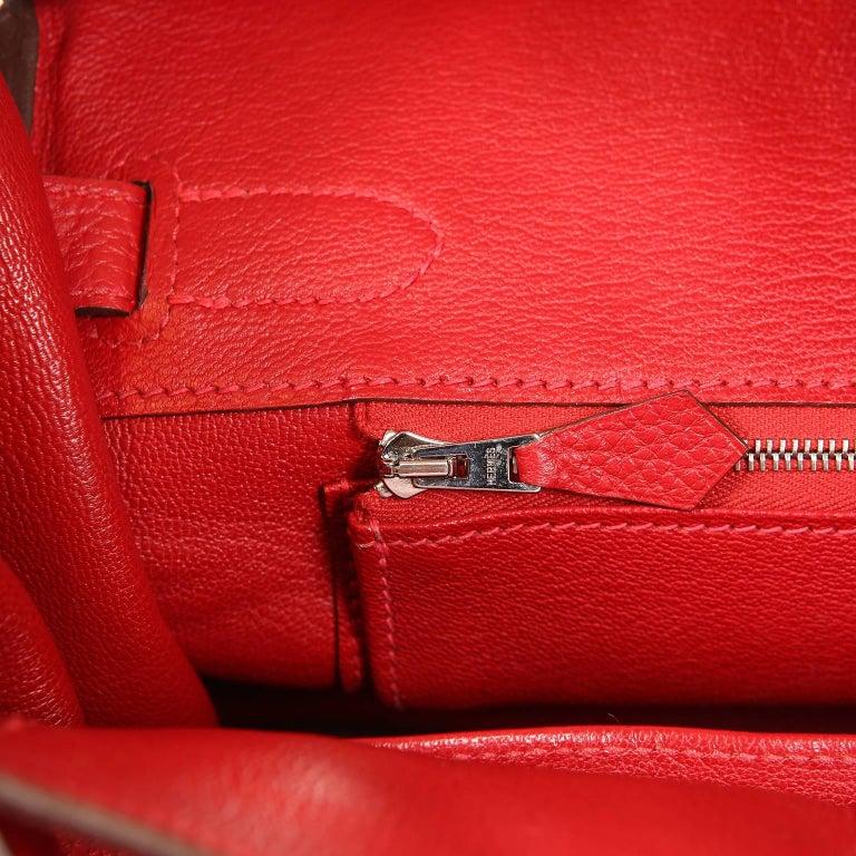 Hermès Rouge H Togo 30 cm Birkin Bag- Palladium Hardware For Sale 8