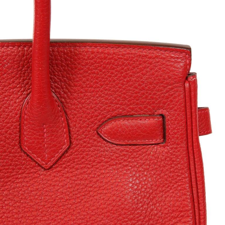 Hermès Rouge H Togo 30 cm Birkin Bag- Palladium Hardware For Sale 9