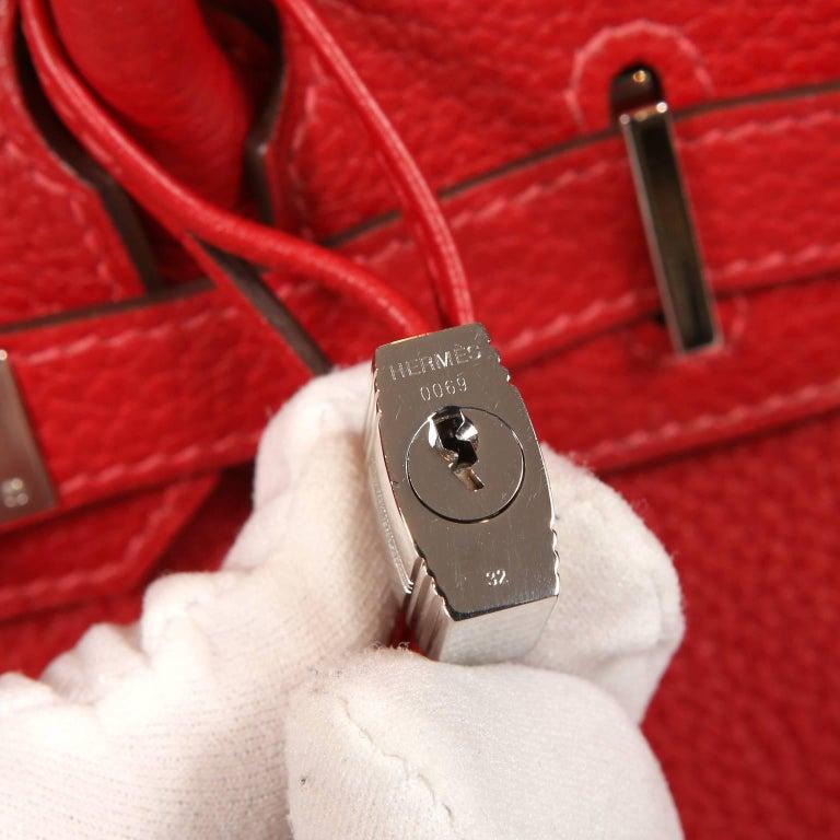 Hermès Rouge H Togo 30 cm Birkin Bag- Palladium Hardware For Sale 10