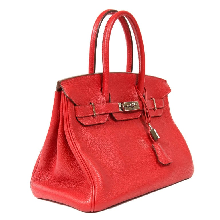 Red Hermès Rouge H Togo 30 cm Birkin Bag- Palladium Hardware For Sale