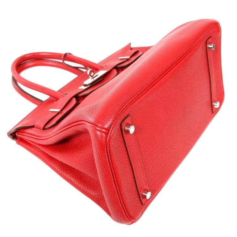 Hermès Rouge H Togo 30 cm Birkin Bag- Palladium Hardware In Excellent Condition For Sale In Palm Beach, FL