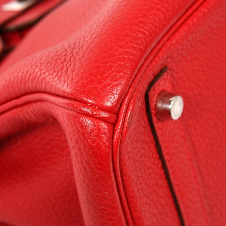 Women's Hermès Rouge H Togo 30 cm Birkin Bag- Palladium Hardware For Sale