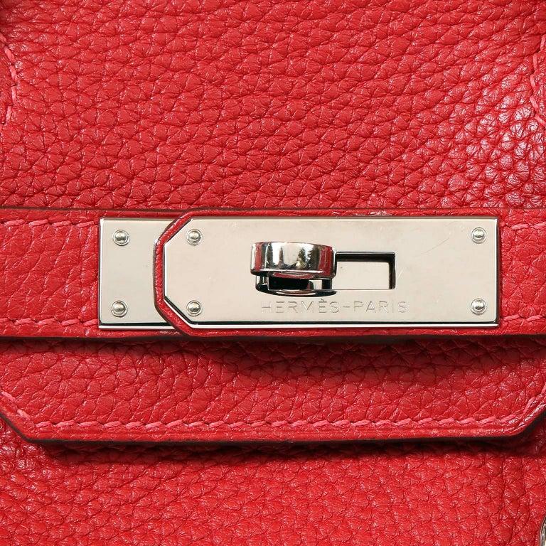 Hermès Rouge H Togo 30 cm Birkin Bag- Palladium Hardware For Sale 1