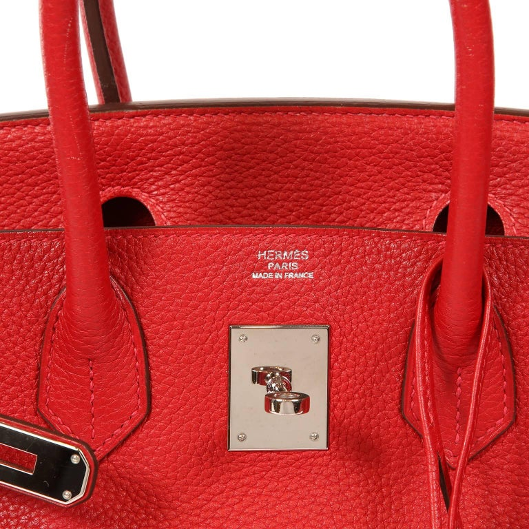 Hermès Rouge H Togo 30 cm Birkin Bag- Palladium Hardware For Sale 2