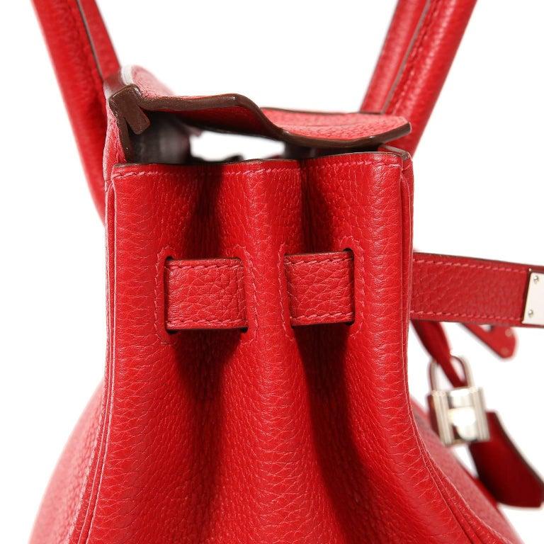 Hermès Rouge H Togo 30 cm Birkin Bag- Palladium Hardware For Sale 3