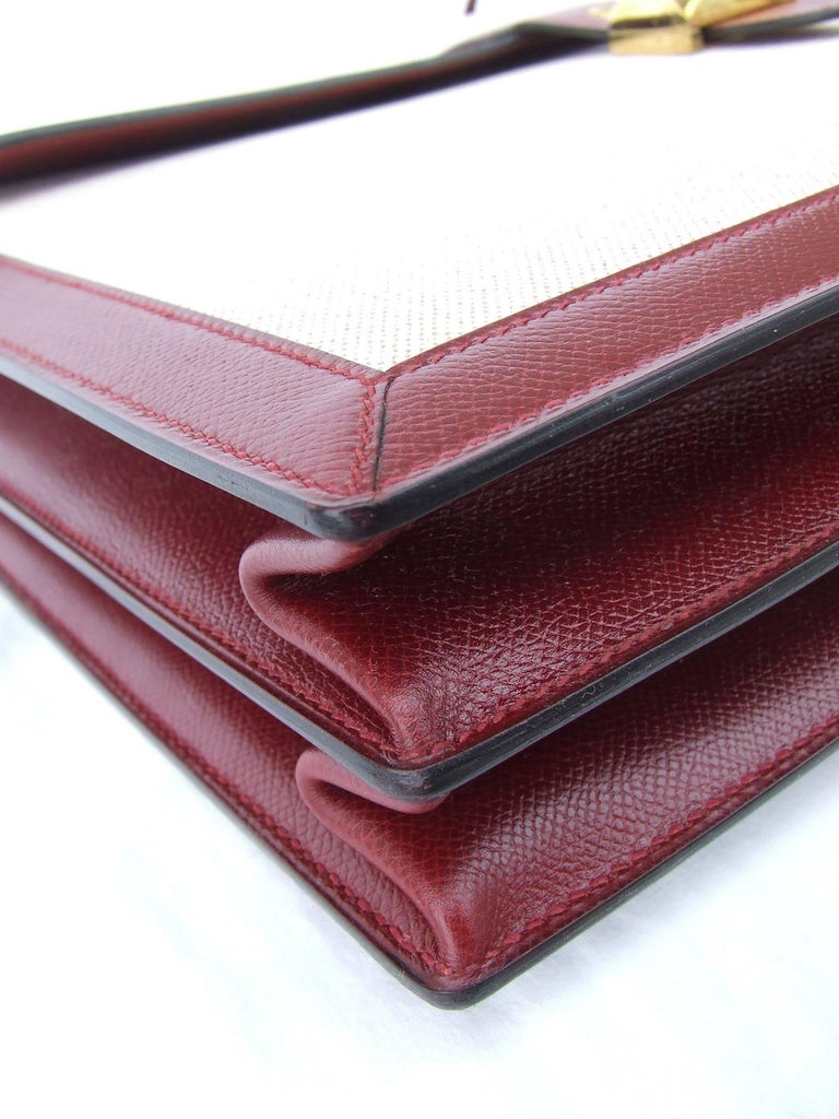 Hermès Toile Canvas 39 cm Red Leather Sac a Depeche Attache Briefcase Handbag  For Sale 5