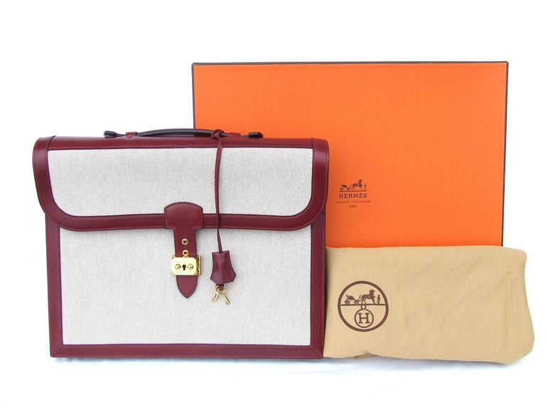 Hermès Toile Canvas 39 cm Red Leather Sac a Depeche Attache Briefcase Handbag  For Sale 6