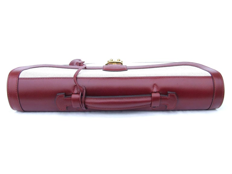 Hermès Toile Canvas 39 cm Red Leather Sac a Depeche Attache Briefcase Handbag  In Excellent Condition For Sale In ., FR
