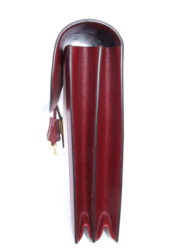 Women's or Men's Hermès Toile Canvas 39 cm Red Leather Sac a Depeche Attache Briefcase Handbag  For Sale