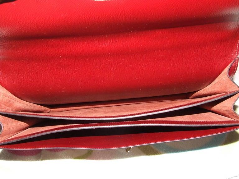 Hermès Toile Canvas 39 cm Red Leather Sac a Depeche Attache Briefcase Handbag  For Sale 1