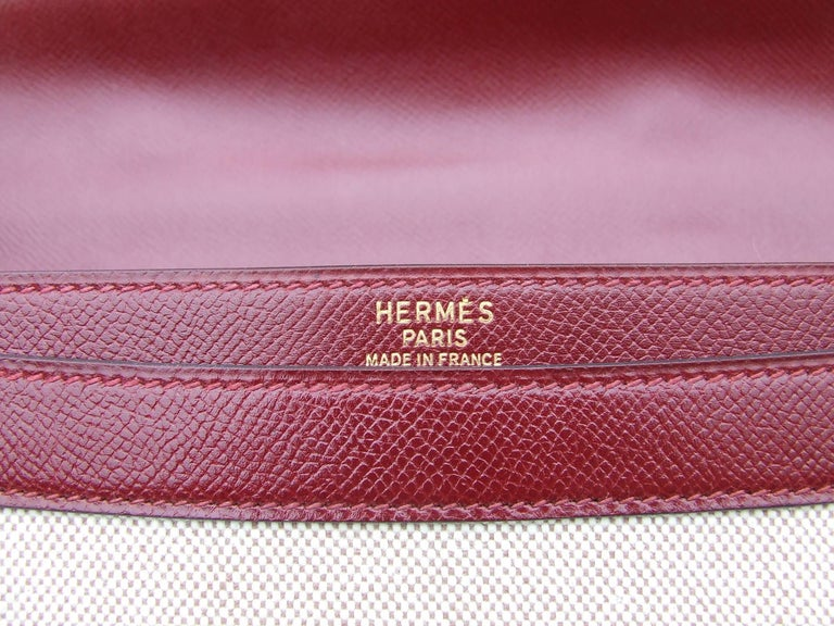 Hermès Toile Canvas 39 cm Red Leather Sac a Depeche Attache Briefcase Handbag  For Sale 2
