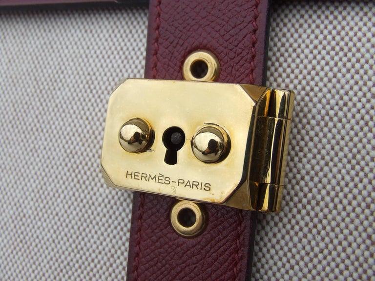 Hermès Toile Canvas 39 cm Red Leather Sac a Depeche Attache Briefcase Handbag  For Sale 3