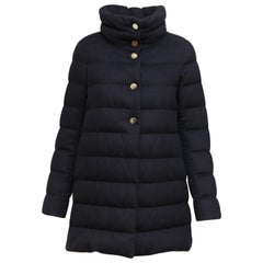Herno Navy Blue Cashmere/Silk Down Puffer Coat